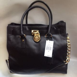 New Authentic Michael Kors Hamilton N/S Large Tote Black /Gold Leather