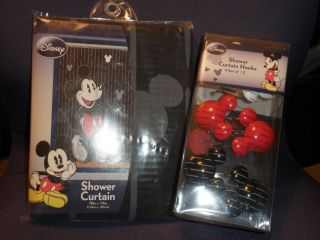 Mickey Mouse Clubhouse Shower Curtain and Hook Set Disney New in