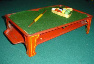 Antique Mini Tin Toy Pool Table w Marbles Balls 30273