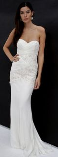 NEW NICOLE MILLER Beaded Strapless Silk SWEETHEART DRESS GOWN SIZE 12