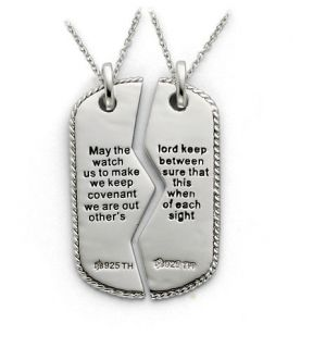 Patriotic Jewelry Sterling Silver Military Mizpah Pendant for Men or
