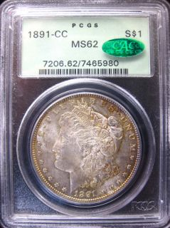 1891 CC Morgan Silver Dollar PCGS MS62 OGH CAC Upgrade