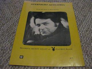 Mickey Gilley Overnight Sensation Sheet Music 1976
