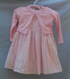 Rosetta Millington Boutique Pale Pink Stripe Dress 12mo + New Sweater