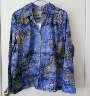 Chicos NWT Soliel Mindy Gulfstream Blue w Gold Button Front Ladies Top