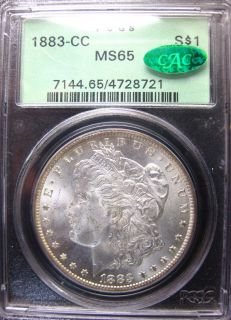 1883 CC Morgan Silver Dollar PCGS MS65 OGH CAC Upgrade