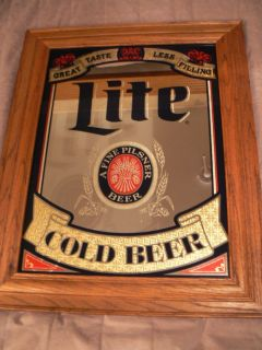 Miller Lite Cold Beer Mirror Advertising Bar Sign Oak Frame