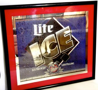 Vintage Mirror Miller Lite Ice Beer Framed Bar Sign 29 x 32 Great