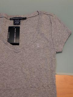 Womens Polo Ralph Lauren Sport V Neck Short Sleeve Pima Tee Gray M
