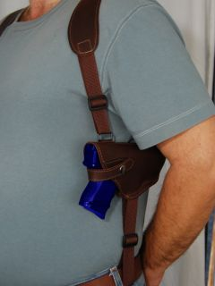 Brown Leather Shoulder Holster w Double Magazine for Taurus Millennium