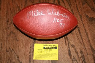 Mike Webster Signed Auto Official Wilson NFL Football Inscr HOF 97