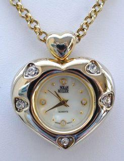 Nolan Miller Signed Heart Watch Pendant Necklace