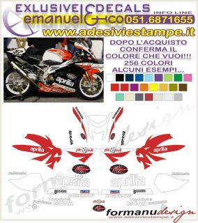 Kit Adesivi Decal Stickers Aprilia RSV 1000 R Replica Factory Daytona