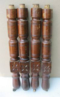 Nice Set of 4 Chip Carved Eastlake Victorian Oak Dining Table Legs