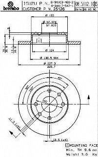 Brembo 25126 Disc Brake Rotor
