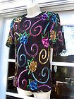 Laurence Kazar Silk Beaded Blouse Size 2X
