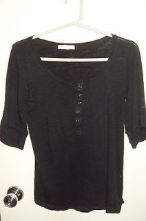 Womens Forever 21 Black 3/4 Sleeve Button Knit Top Shirt US Size