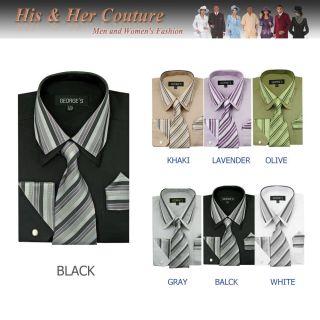 Mens Stylish 3 Piece Contrast Stripes Casual Dress Shirt long sleeve