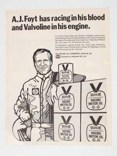 Valvoline Racing Motor Oil A.J. Foyt 1971 Magazine Ad   Vintage Print