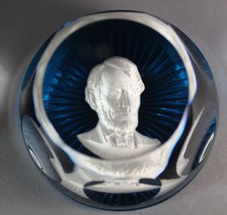 Baccarat Crystal Abraham Lincoln Paperweight&Stand in Box