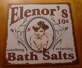 Primitive Rustic Vintage Western BATH SALTS Bathroom Home Decor Sign