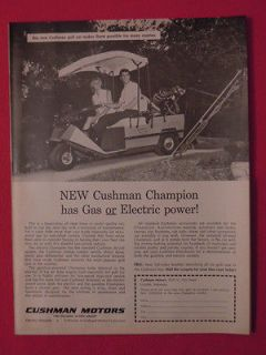 1965 Cushman Motors Gas & Electic Golf Carts Original Print Ad