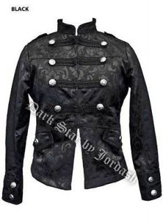 Womens Mens Black Military Jacket Coat Darkstar Brocade Gothic Punk