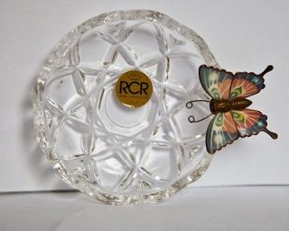 Royal crystal rock Dish with enameled butterfly made in Italy