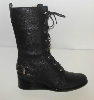 MICHAEL KORS New Size 7.5 Black Leather Military Combat Boots Woodley