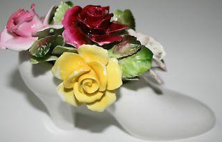 Miniature Wedding Shoe 1960s ROYAL ADDERLEY Floral Rose Bouquet