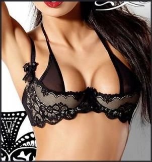 EURO Designer BLACK Quarter Cup BOUDOIR Bra 12DD/34E ★ rp$80 Lace