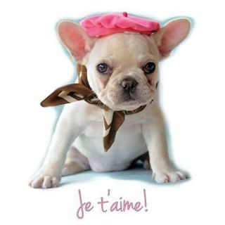 French Bulldog Puppy Dog Je Taime Fashion Ladies Classic Fit White T