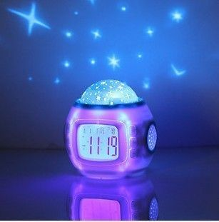 Room Sky Star Night Light Projector Lamp Bedroom Alarm Clock W/music