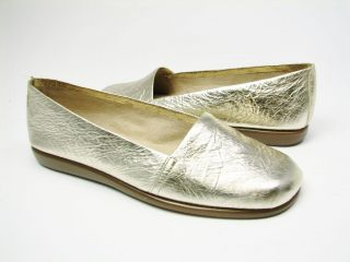 AEROSOLES Mr.Softee Metallic Gold Leather Loafers  NIB 8.5