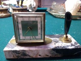 VINTAGE WEST GERMAN FLORN MARBLE DESK CLOCK