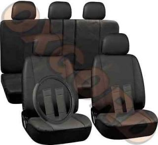 17pc All Black PU Faux Synthetic Leather Complete Seat Covers Full Set