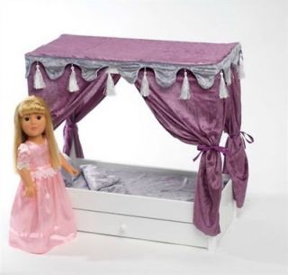 Canopy Bed with Trundle Bed for 18 Inch Dolls Like American Girl Dolls
