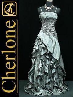 Plus Size Satin Grey Ball Gown Wedding/Evening Bridesmaid Dress 22 24