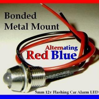 RED BLUE Alternating Dummy Fake Car Alarm LED Light Dash Mount mm