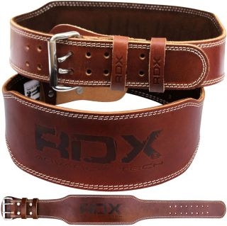 RDX Weight Lifting 4 Nubuck Leather Belt Back Support Strap Gym Power