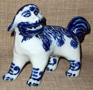 ANTIQUE~Hand/T ransfer Painted Blue & White POTTERY FOO DOG~STAFFORDSH