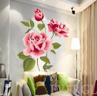 Newly listed D Charming 3D Love Rose Flower Removable PVC Wall Sticker