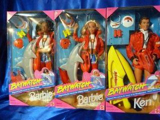 Lifeguard Barbie & Ken dolls Lot 3 White & African American 1994 NRFB