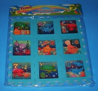 New Childrens Sun Time Kids Foam Play Mat Puzzle 9pc Numbers Gift Sea