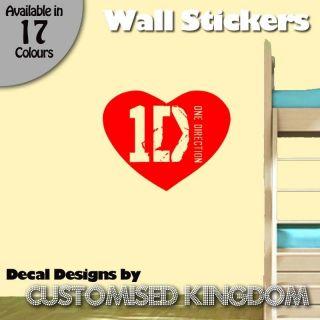 ONE DIRECTION HEART 1D LOGO WALL ART DECAL STICKER KIT