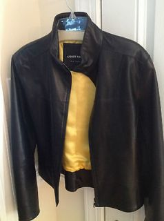 ANDREW MARC Cropped Leather Jacket, Front Zip, Yellow Lining, M size
