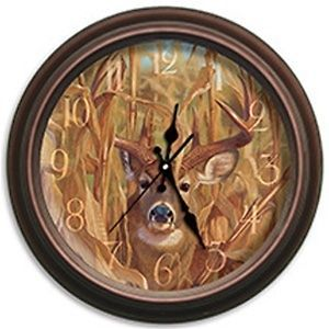 29006 CORNDOGGER DEER REFLECTIVE ART CLOCK BY ARTIST HAYDEN LAMBSON
