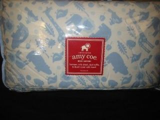 NEW Amy Coe MOD SAFARI Blue Baby Crib 4 pc Bedding Set Boy Zoo Animals