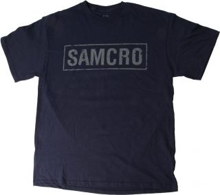 Sons Of Anarchy SOA SAMCRO Logo T Shirt   NAVY