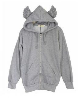 FC2 cute girl GRAY angel wings sport hoodies sweater jacket outwear